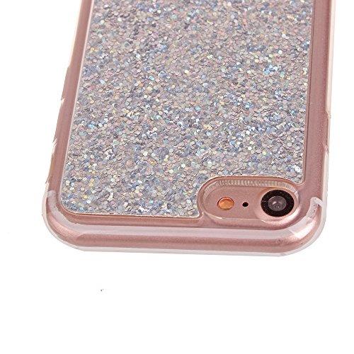 Apple iPhone 7 4.7 Hülle, Voguecase Schutzhülle / Case / Cover / Hülle / TPU Gel Skin (Feder-Anhänger) + Gratis Universal Eingabestift Sequins Glitter/Silber