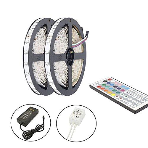 Bande LED 10M, ALED LIGHT Ruban LED 2x5M (10M) SMD 5050 RGB Multicolore  2x150 LED Non Étanche Kit de Bandeau LED Lumineux Flexible + Télécommande à