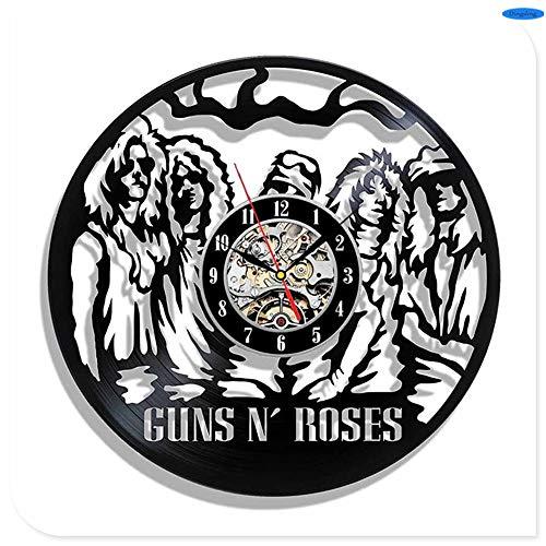 NIGHT BLACK Guns N 'Roses Vinyl 3D Wanduhren Quarzuhr GN' R Vocal Singer Slash Dekoration Handwerk für Zuhause, 4Gift Dekorative Vinyl Record Wanduhr für Weihnachten