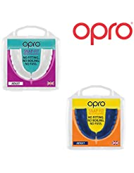 Twin Pack - OPRO Adult Snap Fit Mouth Guard Gum Shield for Rugby, Hockey, MMA, Boxing (Blue + White colours)
