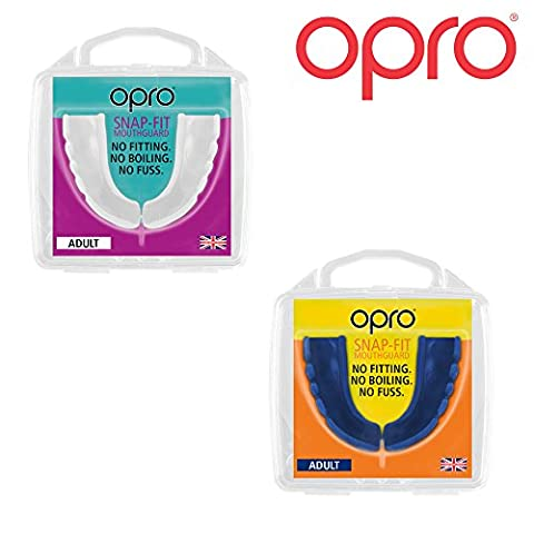 Twin Pack - OPRO Adult Snap Fit Mouth Guard Gum Shield for Rugby, Hockey, MMA, Boxing (Blue + White