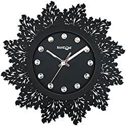Random Jewel Artistic Wooden Wall Clock (Black)