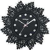 Random Jewel Artistic Wooden Wall Clock (Black)