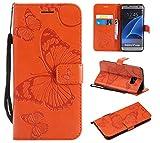 Hozor Samsung Galaxy S7 Edge / G935 Handyhülle, Retro Großer Schmetterling Muster PU Kunstleder Ledercase Brieftasche Kartenfächer Schutzhülle mit Standfunktion Magnetverschluss Flip Cover Tasche, Orange