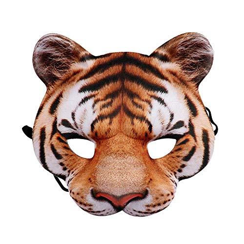 Kostüm Realistische Tiger - VAWAA Karneval Party Mann Und Frauen Halb Gesicht Realistische Tier Cosplay Kostüm Tiger Maske