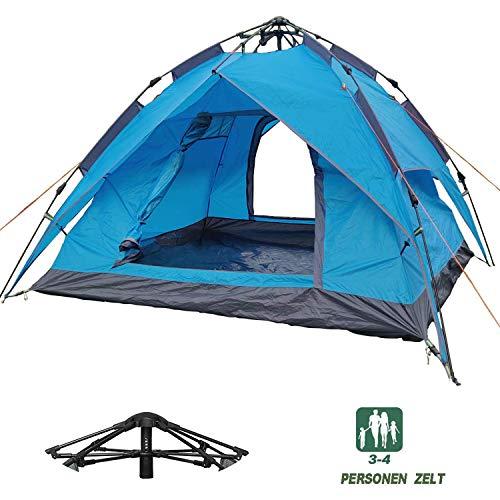 Mecorex Campingzelt für 3 Personen, 2 Personen wurfzelt,Aufstellzelt, Kerker, wasserdicht, belüftet und langlebig, grün/blau (Blau)
