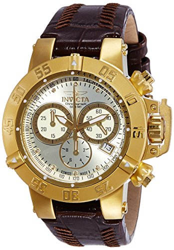 Invicta Subaqua Women's Quartz Watch with Beige Dial  Chronograph display on Brown Leather Strap 80536