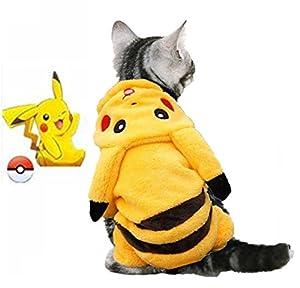 Costume pour chien Pokémon Pikachu Combinaison chiot Pet vêtements pour chien Vêtements d'hiver vêtements manteau pour chien Veste à capuche pour peluche chat 3