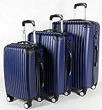 3-tlg Kofferset Reisekoffer Koffer Hartschale Trolley 4 Rollen Blau