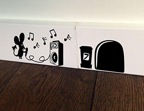 Maus Karaoke Sing Loch Funny Wand Kunst Aufkleber Aufkleber Baseboard Kinder Mäuse Sockelleiste - Karaoke-banner