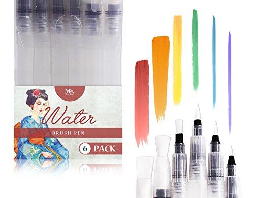 MozArt Supplies Rotuladores de Agua con Punta de Pincel - Water Brush Pens - Set de 6 para Artistas Consagrados y Pintores Principiantes - Ideal para Creaciones en Acuarela