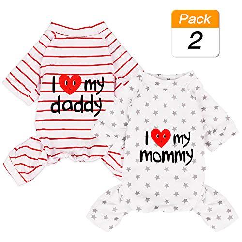 Hunde-Pyjama aus Baumwolle, leicht, für mittelgroße Hunde und Katzen, mit Aufdruck I Love My Mommy/Daddy, Grau mit Sternen/Rot gestreift, Large, Star & Stripe -
