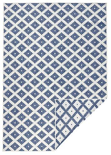 bougari In- & Outdoor Wendeteppich Nizza Blau Creme, 80x150 cm - Blauer Teppich Outdoor Teppiche
