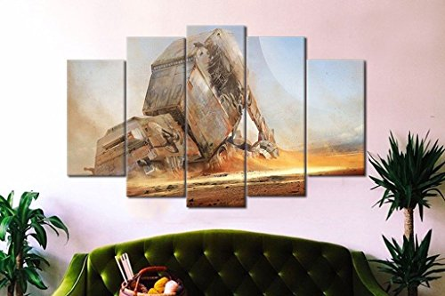 5PCS Framed Starwars Fallen AT-AT Canvas Prints - 5 Piece Canvas AT-AT Artwork Canvas Star Wars Paintings on Canvas Wall Art for Office and Home Wall Decor
