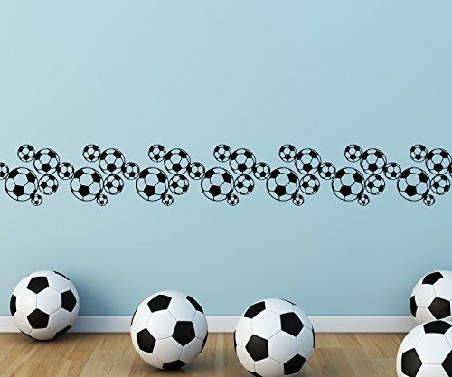 Wandtattoo selbstklebend Bordüre Fussball Karo Muster Ball Spieler Bälle Sport Set Wand Aufkleber Wohnzimmer 1U367, Farbe:Schwarz Matt;Länge x Breite:100cm x 14cm