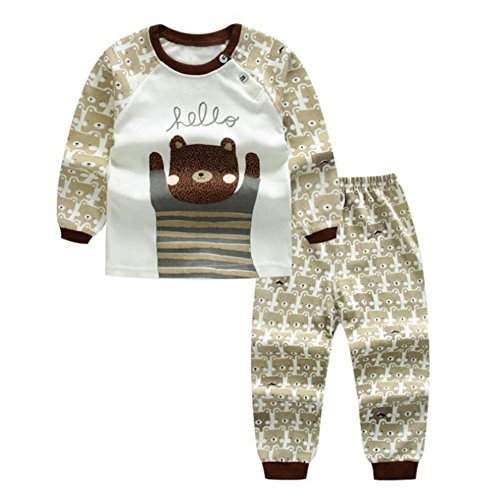 Pyjama Set für Baby, Meedot 2 Stück Baumwolle Langarm Winter Warm Nachtwäsche für 0-5 Jahre alt Kinder (3 Stück Pyjama Nachtwäsche)