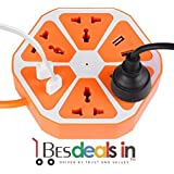 Smart Hexagon Shape Socket Extension Board With 4 USB 2.0Amp Charging Points (Multi Color)