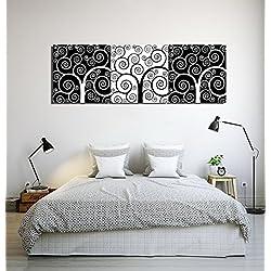 Árbol geométrico europeo negro blanco_Imagen sobre lienzo Decoración para el hogar,3 paneles,40 x 40 cm,con marco