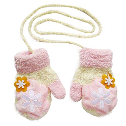 Cosanter kinder Baby Handschuhe Fäustlinge aus Plüsch Schön kinder Mädchen Junge Blatt Winter-warmen Handschuhe Rosa