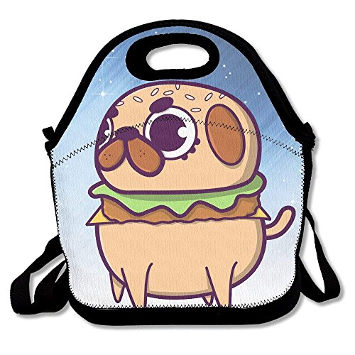 fengxutongxue Pug Burger Insulated Lunch Bag with Zipper,Carry Handle and Shoulder Strap for Adults Or Kids Black