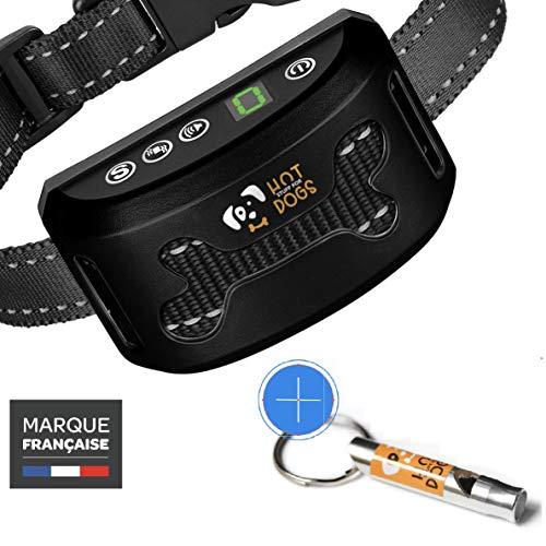 Anti-Bell-Halsbänder für Hunde (Wiederaufladbare) + Trainingspfeife -
