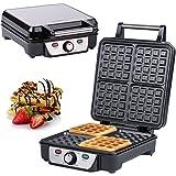 Macchine per Waffle, 4 Waffel belga, Macchinetta per Waffel XXL, Waffel doppie di Bruxelles, termostato, regolazione infinitamente regolabile della temperatura, spia di preparazione, manico cool-touch