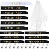 Bride Tribe Addio al nubilato Fasce: 1 Bride To Be Sash, 11 Bride Tribe (Maid Of Honor Sash), 1 velo da sposa con pettine per addio al nubilato, bomboniere e bomboniere (12 fusciacca con 1 velo)