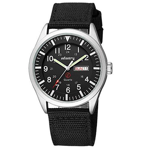Infantry Armbanduhr Herren Uhr Wasserdicht Männer Uhren Militär Schwarz Herrenarmbanduhr Tactical Watch Outdoor Männeruhr Nylonband