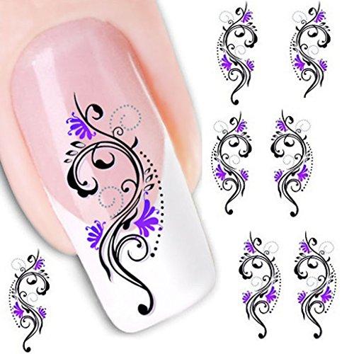 Ouneed® 1pc Imprimés Fleur Violet pour Ongles Décalques à l'eau 5.2CMX6.3CM