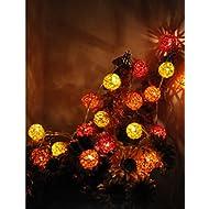 Nantonin 20boules LED Boule de coton Guirlande lumineuse pour Home Decor Décorations de Noël Décoration de Noël