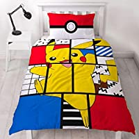 Pokemon Pikachu Single Duvet Cover | Officially Licensed Reversible Pokeball Two Sided Super Memphis Design with Matching Pillowcase, Polyester