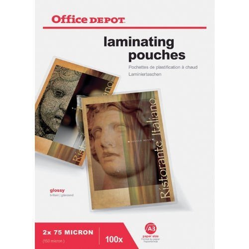office-depotr-a3-laminating-pouches-glossy-sheet-150-micron-high-quality-pockets-pack-of-100