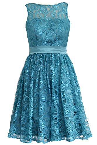 MACloth Women Straps Lace Short Bridesmaid Dress Cocktail Party Formal Gown Teal