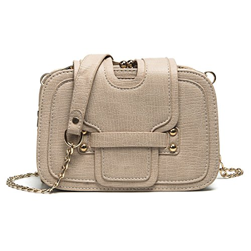FZHLY Signore Nuova Catena Piccola Piazza Bag,Pink Beige