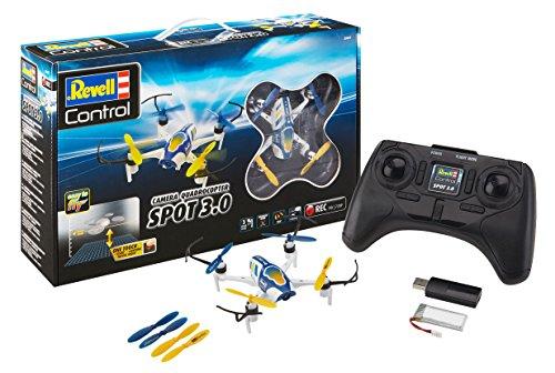 Revell Control 23857 RC HD-Kamera-Quadcopter Spot 3.0, 2.4GHz, Akku, Flip, Rotorschutz, Höhensensor, LED, Headless-Mode, Geschwindigkeitsstufen, ferngesteuerter Quadrokopter, weiß-blau, 14 cm