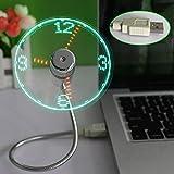 hrph LED USB Fan Clock Mini Flexible Time with LED Light - Cool Gadget