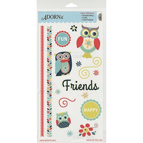 Adorn-It Juego de pegatinas, diseño de búho, color verde menta, acrílico,...