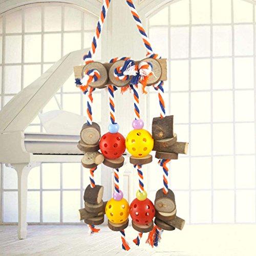 Vogel Kauen Spielzeug, solide Holz Durable Cotton Rope Hängende Blöcke Ball String Bite große mittlere und kleine Pet Bird Stand Rack spielen Spielzeug Parrot Supplies (Ball-rack Holz)