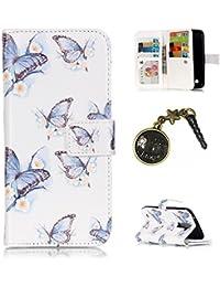 PU para smartphone LG K10(5.3inches) móvil, [9tarjeteros] de piel para LG K10(5.3inches) Flip Cover Funda Libro Con Tarjetero Función Atril magnético + Polvo Conector azul 10