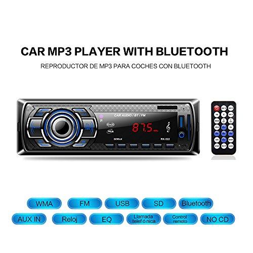 Radio Coche Bluetooth Reproductor de Mp3 Autoradio FM Estéreo de Automóvil Receptor de Audio/Radio Manos Libres MP4 / SD Car Stereo Soporte USB Tarjeta SD Entrada AUX Control Remoto Inalámbrico