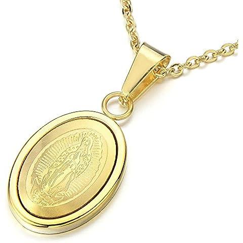 Pequeño Gold Virgen Maria ovalada Milagrosa Medalla Colgante de acero inoxidable collar para hombres