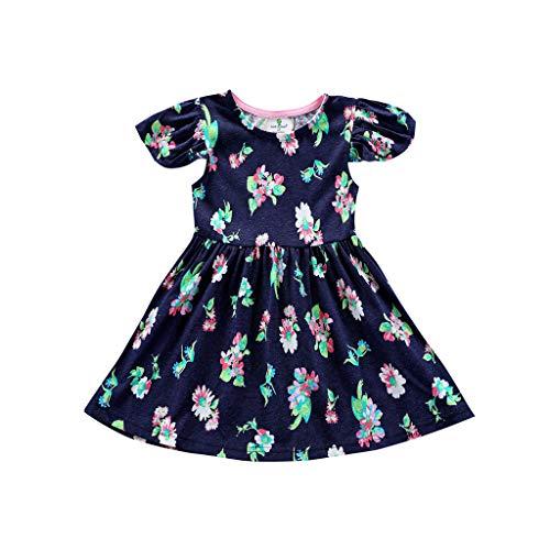 HEETEY Kleinkind-Baby-Mädchen Blumen Rüschen Bedruckte Kleid Outfits Kleidung Kurzärmliges Kleid mit fliegenden Ärmeln und Blumendruck