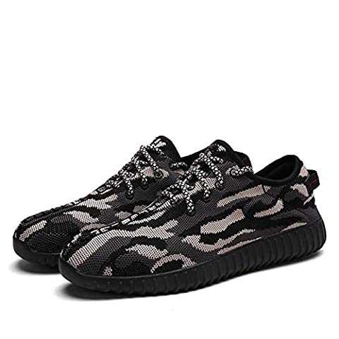 Baskets en maille de camouflage pour hommes / garçons chaussures de sport décontractées d'été et d'automne respirant et léger , black , 43