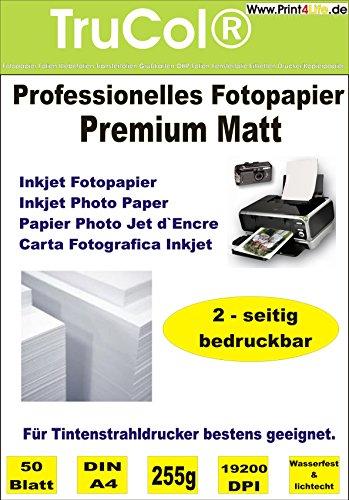 50 fogli a4 255g / m² su entrambi i lati carta fotografica premium matt opaca - immediatamente asciutta - impermeabile - bianco alto - brillantezza molto alta dei colori per stampanti inkjet (stampanti a getto d'inchiostro) carta volantini brochure modelli