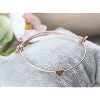 Lederarmband 1mm rosenholz mit Herz in rosegold farben Herzarmband Brautarmband Freundschaftsarmband Herz Armband Leder