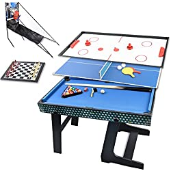 Win.max 3.5Ft Deluxe 5 en 1 mesa de juego plegable tabla de tenis de mesa, hockey de deslizamiento, ajedrez, piscina, baloncesto