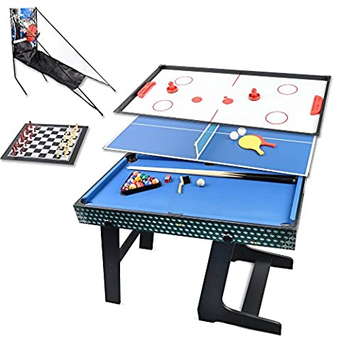 Win.max 3.5Ft Table Multi Jeux 5 en 1 Pliante (Ping Pong, Hockey, échecs, Basket, Billard)