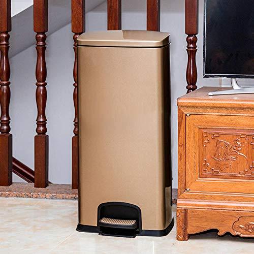 SHUQING Mülleimer mit großer Kapazität aus Edelstahl Mute mit Abdeckung Pedal Mülleimer geeignet für Home Office Hotel Korridor Wohnzimmer Küche Mülleimer 30L