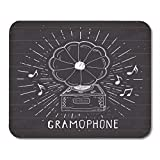 Mouse Pads Audio Gramophone Vintage Label Sketch Retro Badge on Chalkboard Chalk Classic Mouse Pad 9.5' x 7.9' for Notebooks,Desktop Computers Accessories Mini Office Supplies Mouse Mats