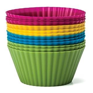 Zaza Küche Backen Essentials Silikon Backförmchen, Set 12wiederverwendbare Cupcake Liners In vier Farben - Medium, 144